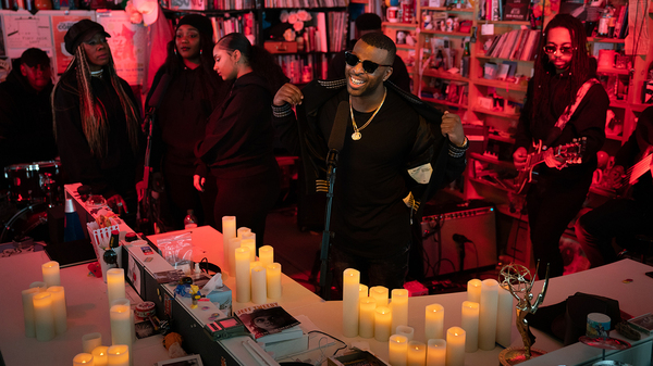 dvsn performs a Tiny Desk Concert at NPR headquarters on Oct. 24, 2018. (Cameron Pollack/NPR)