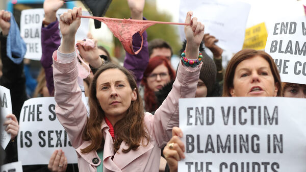 Protesters gathered Wednesday in Dublin to denounce the Irish legal system