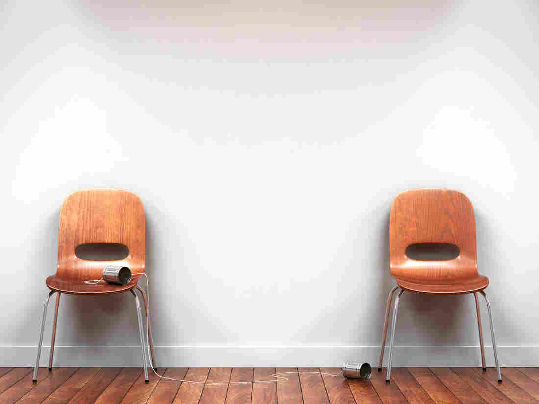 Two chairs with tin can phone(Computer Generated Rendering)