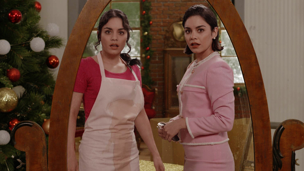 Vanessa Hudgens as both Stacy and Margaret in the Netflix holiday confection The Princess Switch.