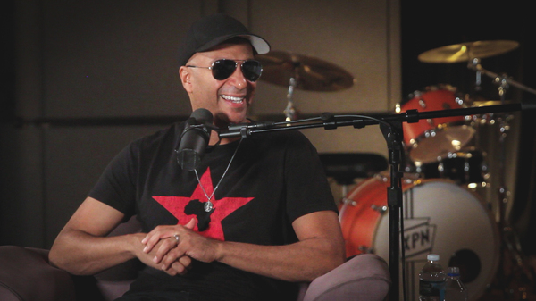 Tom Morello inside the World Cafe Performance Studio.