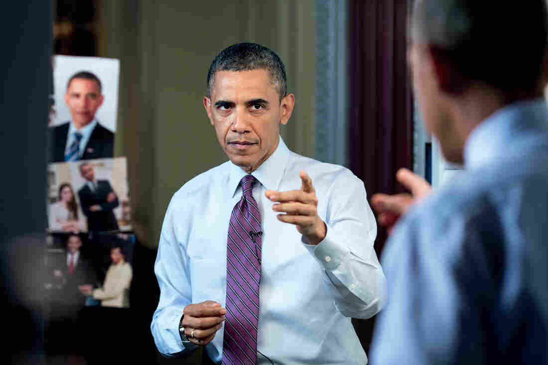 President Obama tapes a comedy short for the White House Correspondents' Association dinner in 2013.