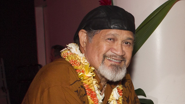 Cyril Pahinui, photographed before the start of a live concert featuring musicians who contributed to the film The Descendants on April 14, 2012 in Honolulu.