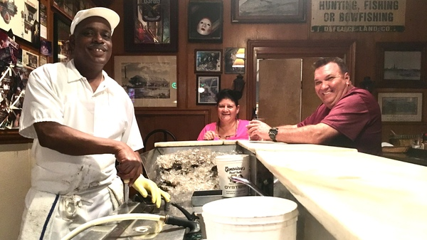 "Thomas ""Uptown T"" Stewart (left), has been shucking oysters at Pascal"