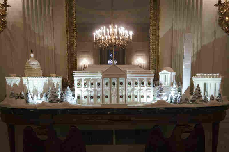 This year the gingerbread house features the Capitol, the Lincoln Memorial, the Washington Monument, the Jefferson Monument as well as the White House. It took 225 pounds of gingerbread to create.