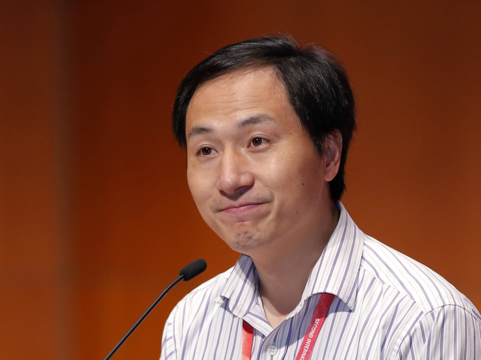 Researcher He Jiankui spoke Wednesday during the 2nd International Summit on Human Genome Editing in Hong Kong. (Kin Cheung/AP)