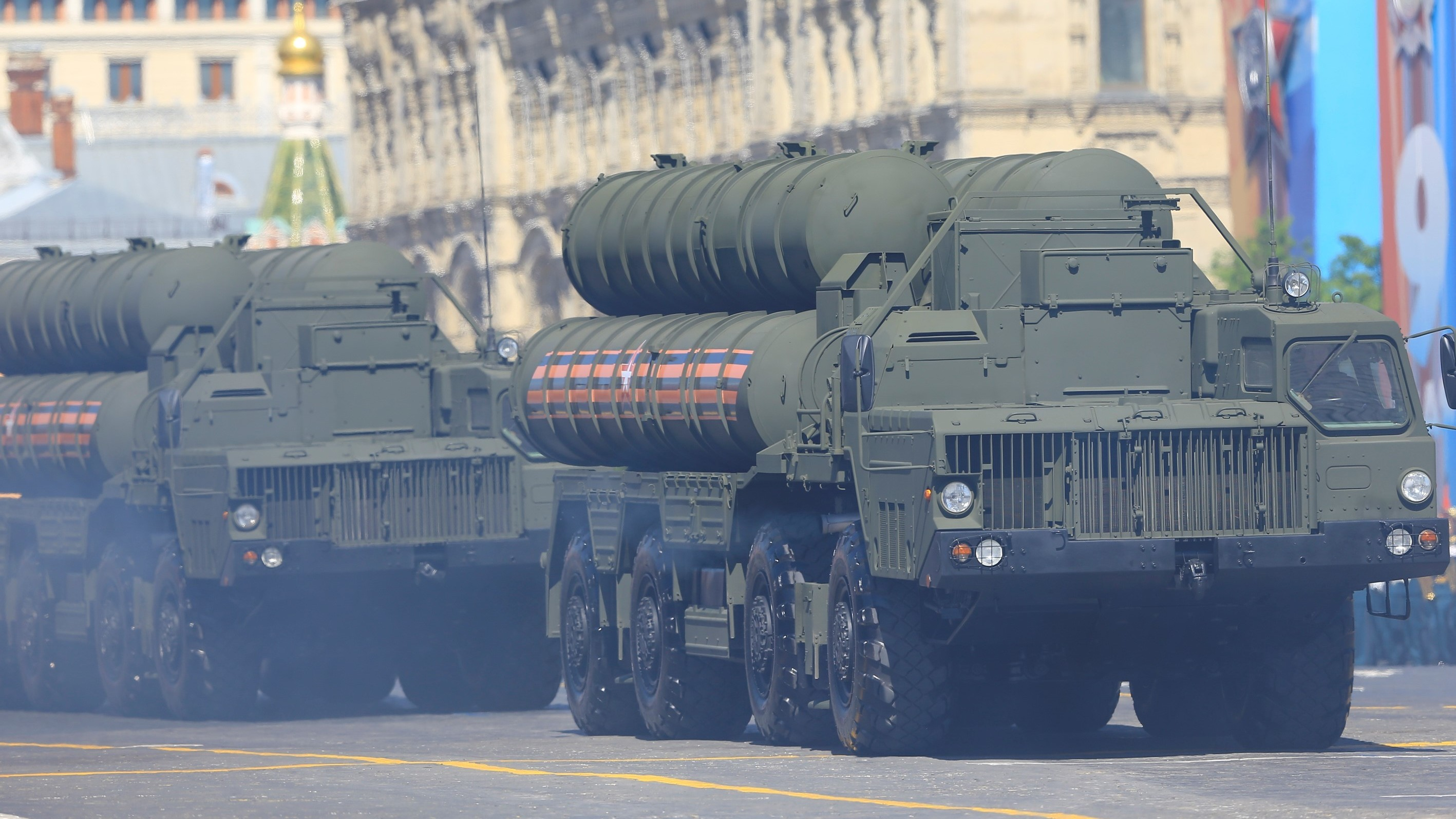 Russia is sending a new division of S-400 Triumf surface-to-air missile systems to Crimea in a new sign of heightened tensions. Here one of the systems is carried during the Victory Day military parade Russia held in May