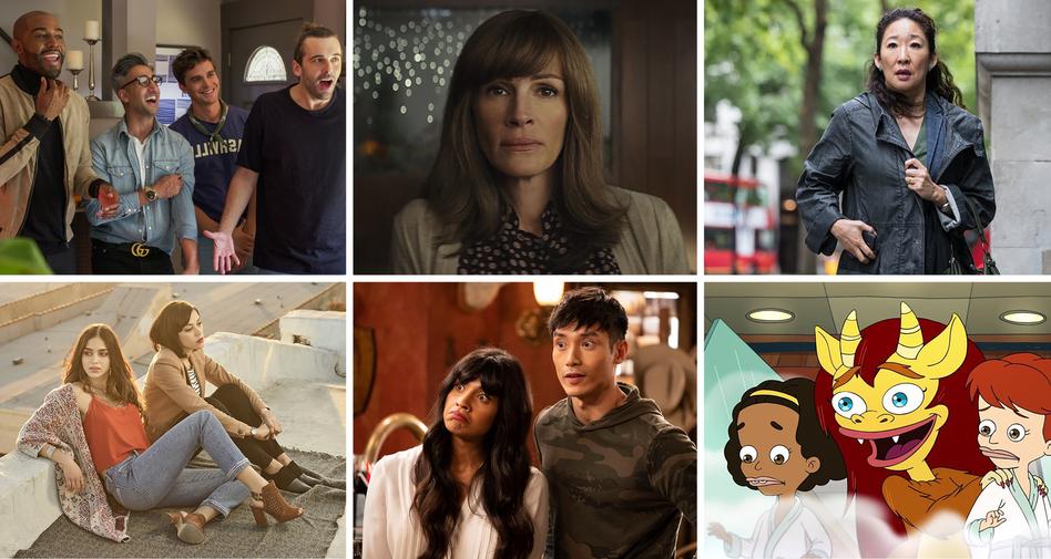 <em>Queer Eye, Homecoming, Killing Eve, Vida, The Good Place </em>and <em>Big Mouth</em> all made NPR's top list. (Netflix/Amazon Prime Video/BBC America/NBC/Courtesy of Starz)