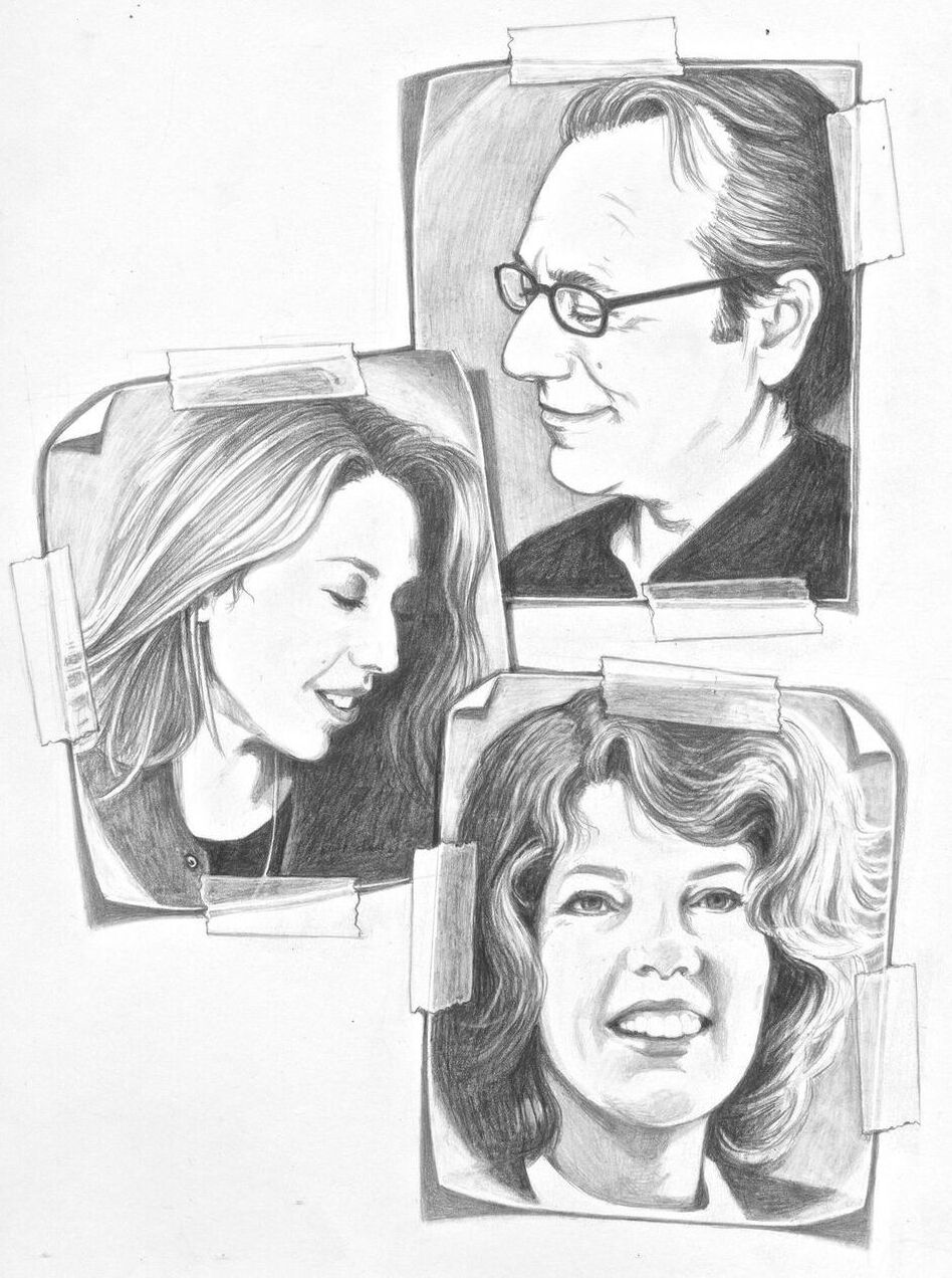 Santlofer based these sketches of himself, daughter Doria and his late wife Joy on family photographs.