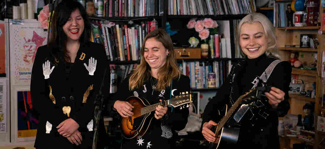 Boygenius performs a Tiny Desk Concert on Nov. 9, 2018 (Cameron Pollack/NPR).