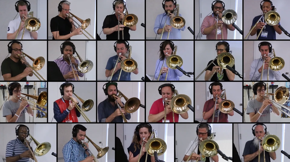 "28 trombonists perform Queen's ""Bohemian Rhapsody."""