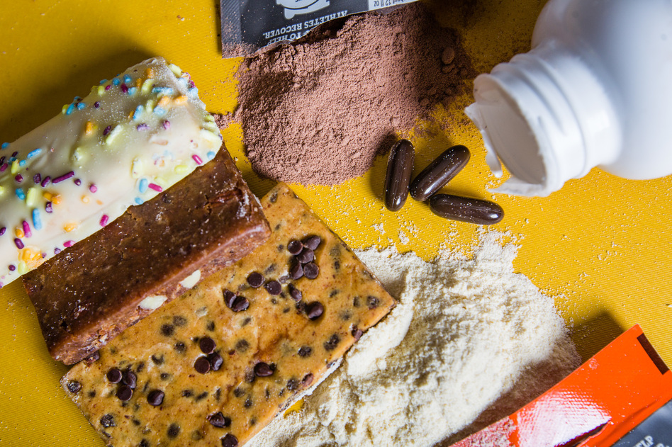 Unless you're an extreme athlete, recovering from an injury, or over 60, you probably need only 50 to 60 grams of protein a day. And you probably already get that in your food without adding pills, bars or powders. (Madeleine Cook and Heather Kim/NPR)