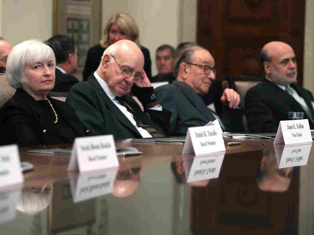 Former Federal Reserve Board Chairs Janet Yellen, Paul Volker, Alan Greenspan and Ben Bernanke.