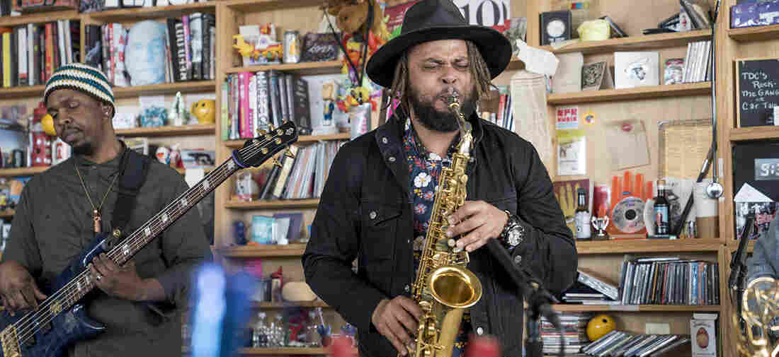Logan Richardson performs a Tiny Desk Concert on March 2, 2018 (Eslah Attar/NPR).
