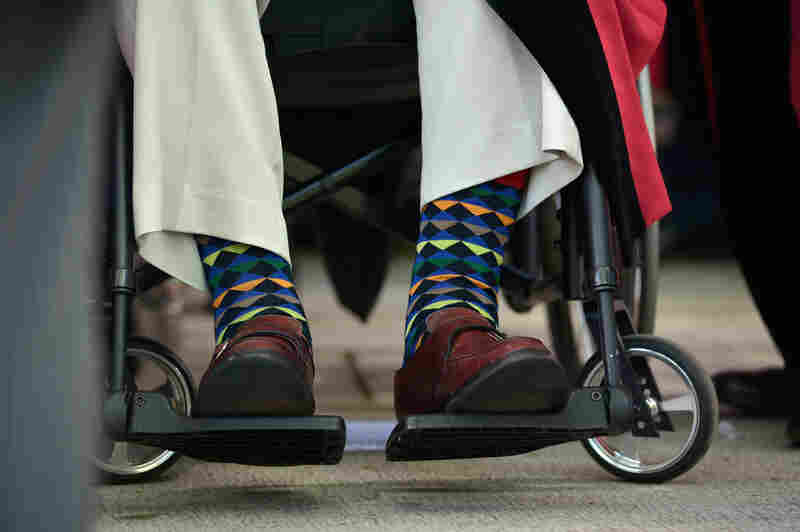 Bush's colorful socks at Harvard University on May 29, 2014 in Cambridge, Massachusetts, USA.