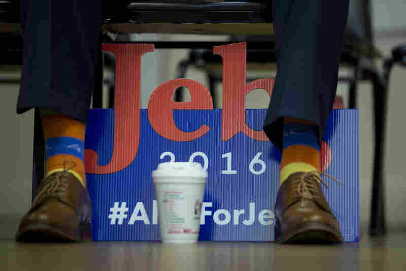One participant wears George H.W. Bush socks during a Jeb Bush campaign event in the Postlegion 81 of the E. Roger Montgomery American Legion in Contoocook, N.H., December 19, 2015.