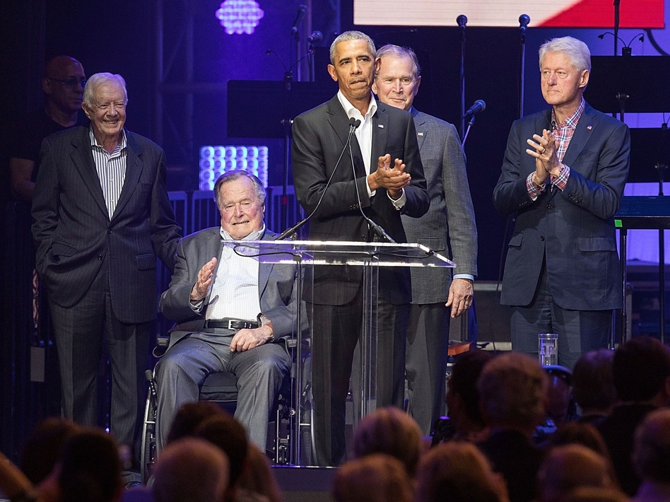Former Presidents Jimmy Carter, George H.W. Bush, Barack Obama, George W. Bush and Bill Clinton came together last year in College Station, Texas. (Rick Kern/Getty Images for Ford Motor Co.)