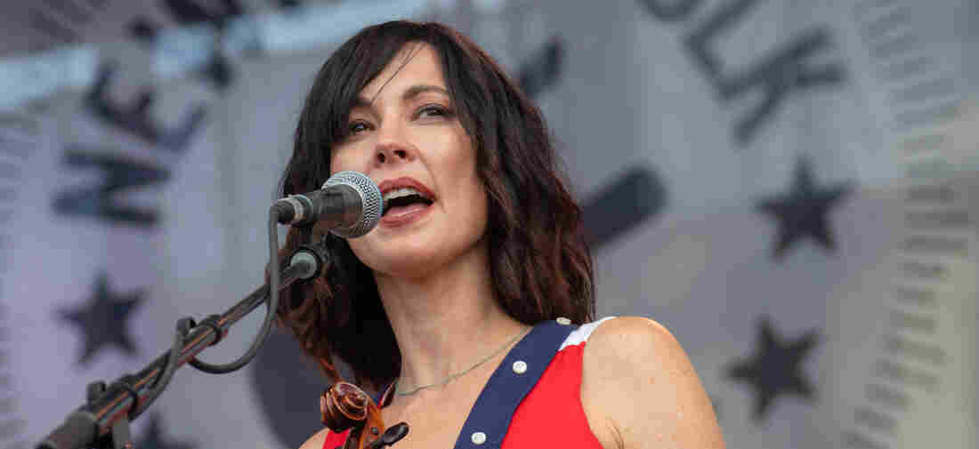 Amanda Shires performs during the Newport Folk Festival 2018 at Fort Adams State Park on July 27, 2018 in Newport, Rhode Island.