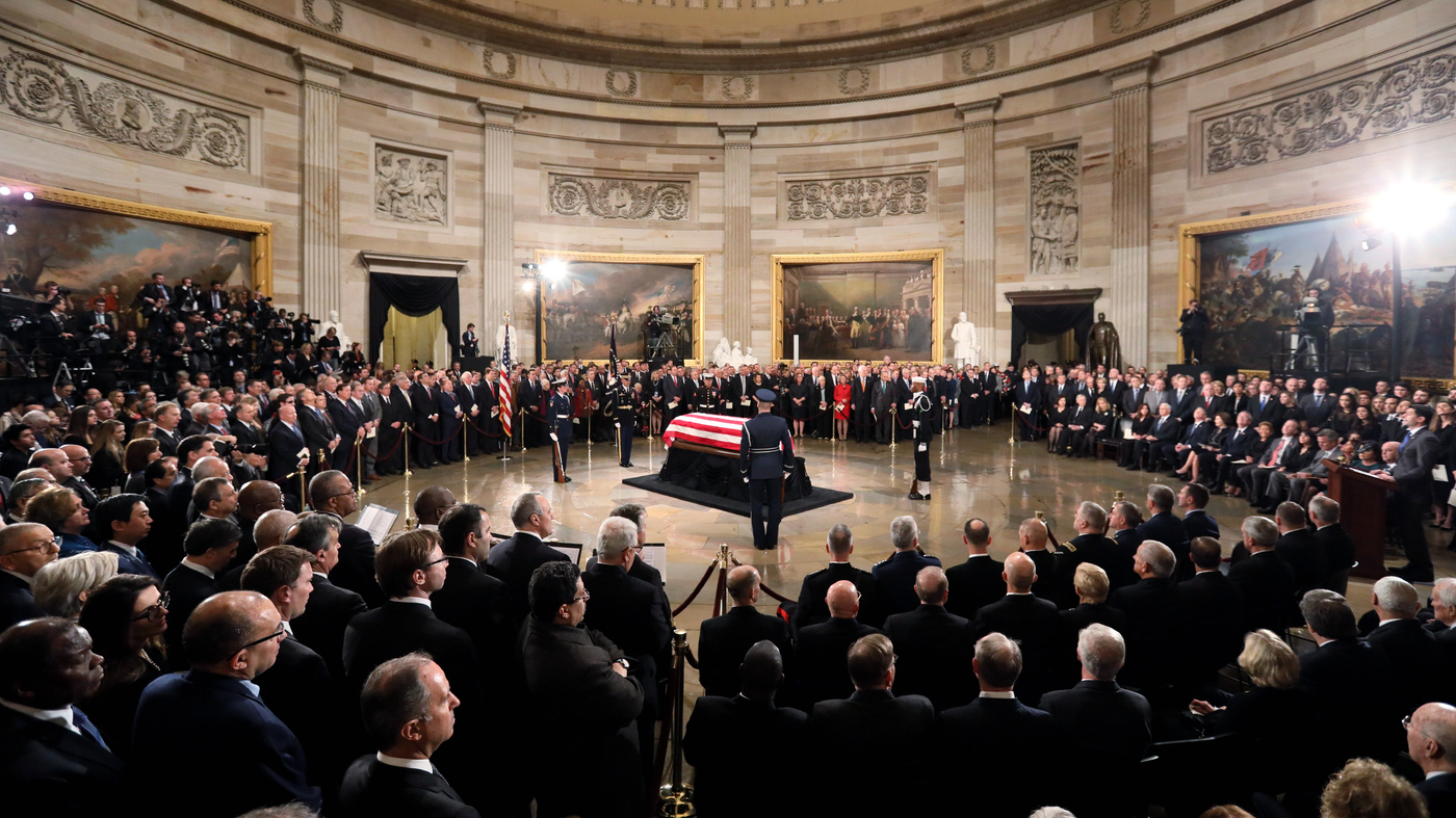 George H W Bush Casket Arrives At Capitol To Lie In State