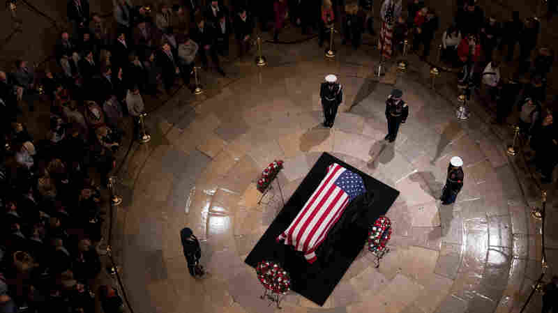Visitors Stream Through Capitol Rotunda As George H.W. Bush Lies In State