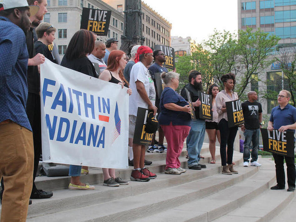 A crowd of faith-based progressive activists rally in Indianapolis. The religious left in Indiana are working to make inroads in the state legislature, long-dominated by conservative Republicans. (Lauren Chapman/Indiana Public Media)
