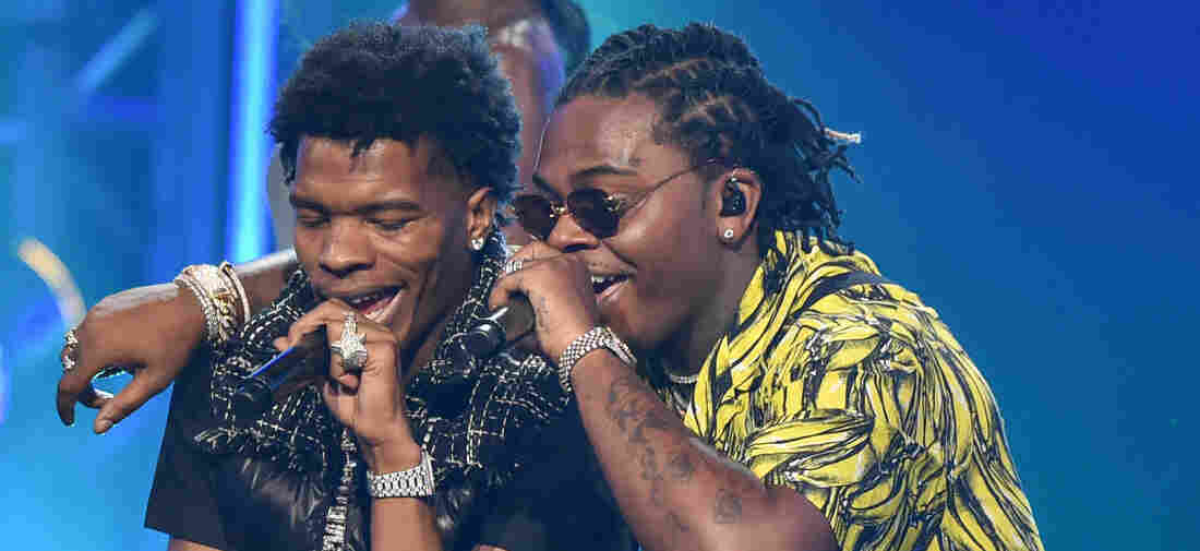 Lil Baby and Gunna perform onstage during the 2018 BET Hip Hop Awards at Fillmore Miami Beach on October 6, 2018 in Miami Beach, Florida.