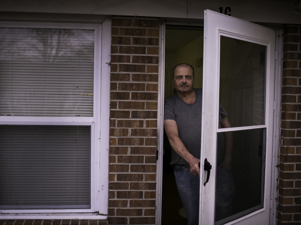 Stacy Holcomb, 57, stands in front of his home in Bladenboro, N.C., where he says he was approached by a woman during the midterm elections and offered assistance submitting an absentee ballot, an occurrence that many in Bladen County have said happened to them.