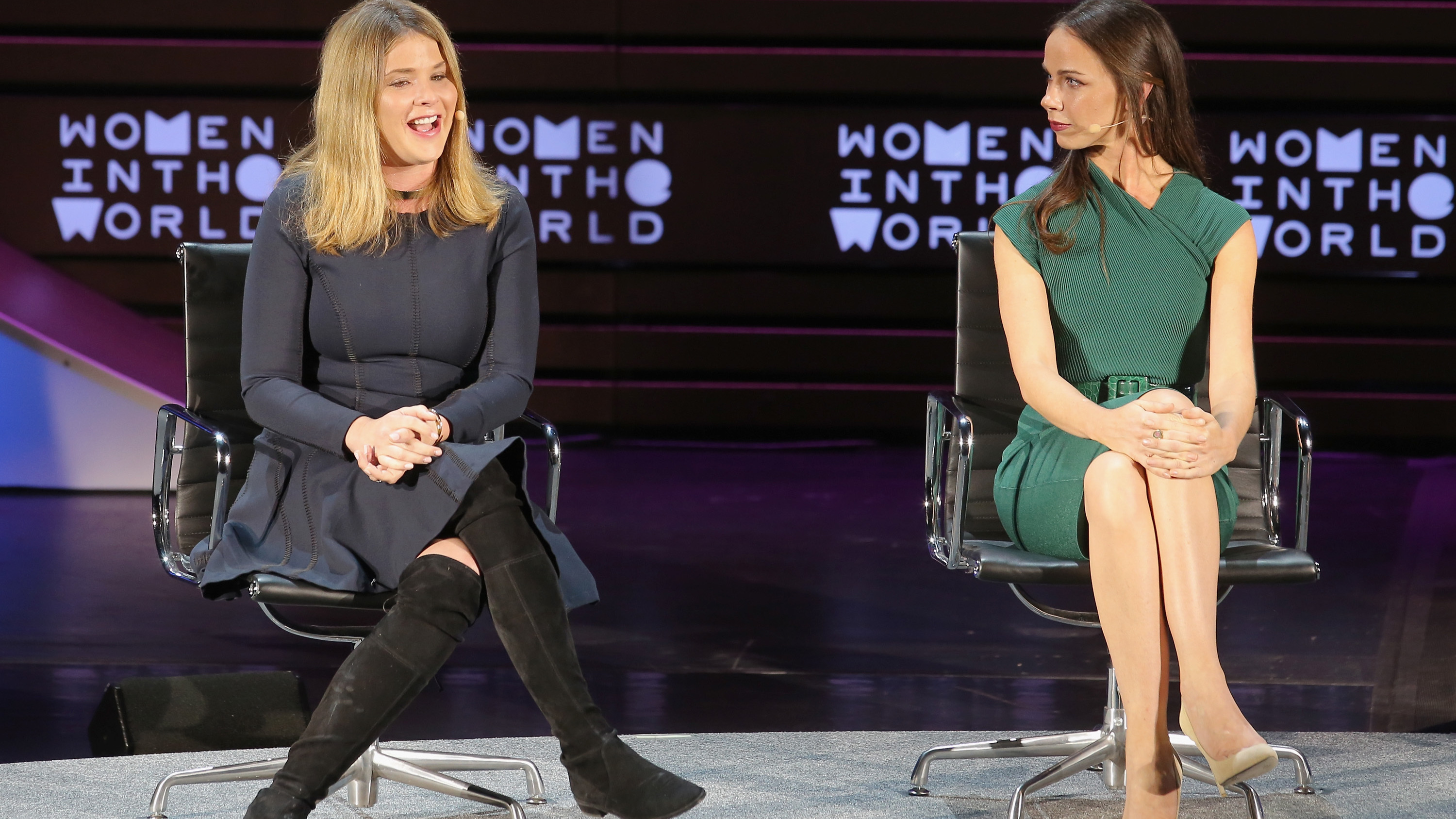George H.W. Bush's granddaughters Jenna Bush Hager and Barbara Bush speak at the Women In The World Summit New York City in April 2016. (Jemal Countess/Getty Images)