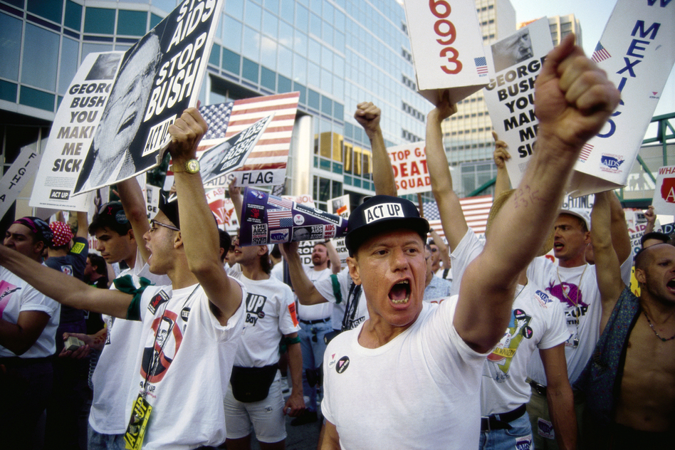 ACT UP demonstrators shout and carry posters outside the 1992 Republican National Convention. (Gregory Smith/Corbis/Getty Images)