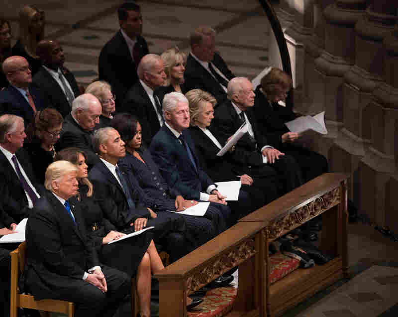 President Trump, first lady Melania Trump, former President Barack Obama, former first lady Michelle Obama, former President Bill Clinton, former first lady Hillary Clinton, former President Jimmy Carter and former first lady Rosalynn Carter attend the funeral.