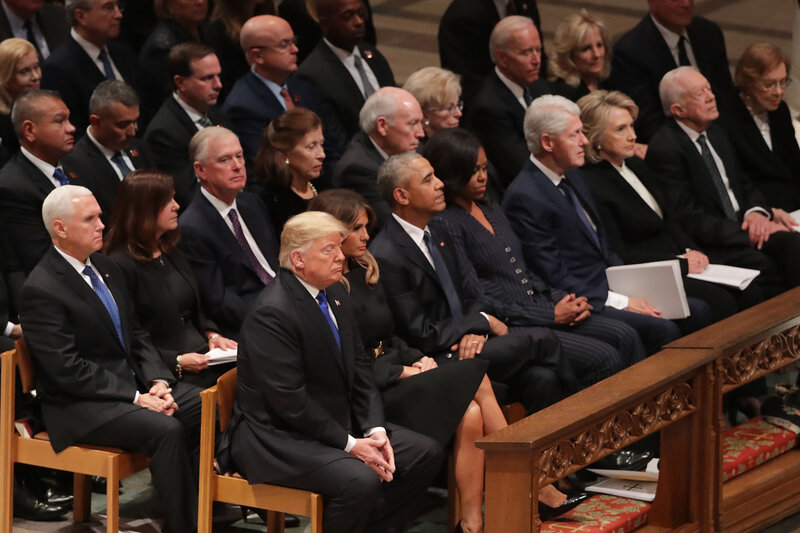 Former presidents, vice presidents, first ladies and President Trump attend the state funeral for former President George H.W. Bush at the National Cathedral on Wednesday. (Chip Somodevilla/Getty Images)