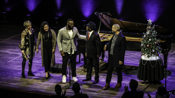 (L-R) Jane Bunnett, Danae Olano, James Francies, Booker T. Jones and Jason Moran at the Kennedy Center.