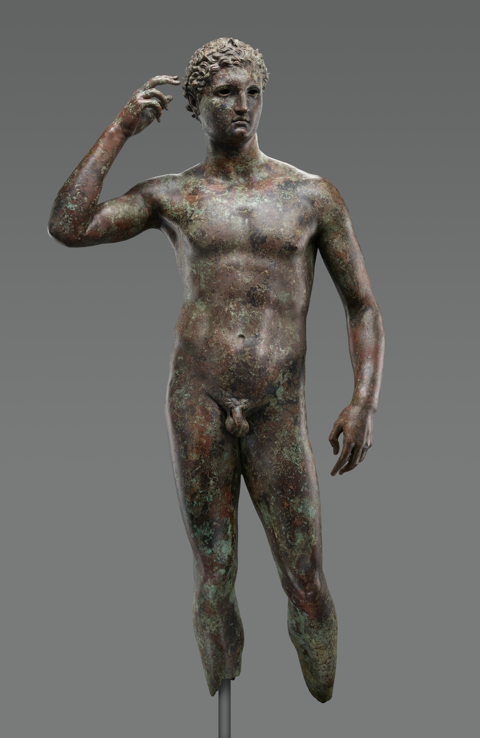 "Ownership of ""Statue of a Victorious Youth,"" a bronze sculpture of ancient Greek origin, is being disputed. An American museum is trying to keep it. (Digital image courtesy of the Getty's Open Content Program.)"