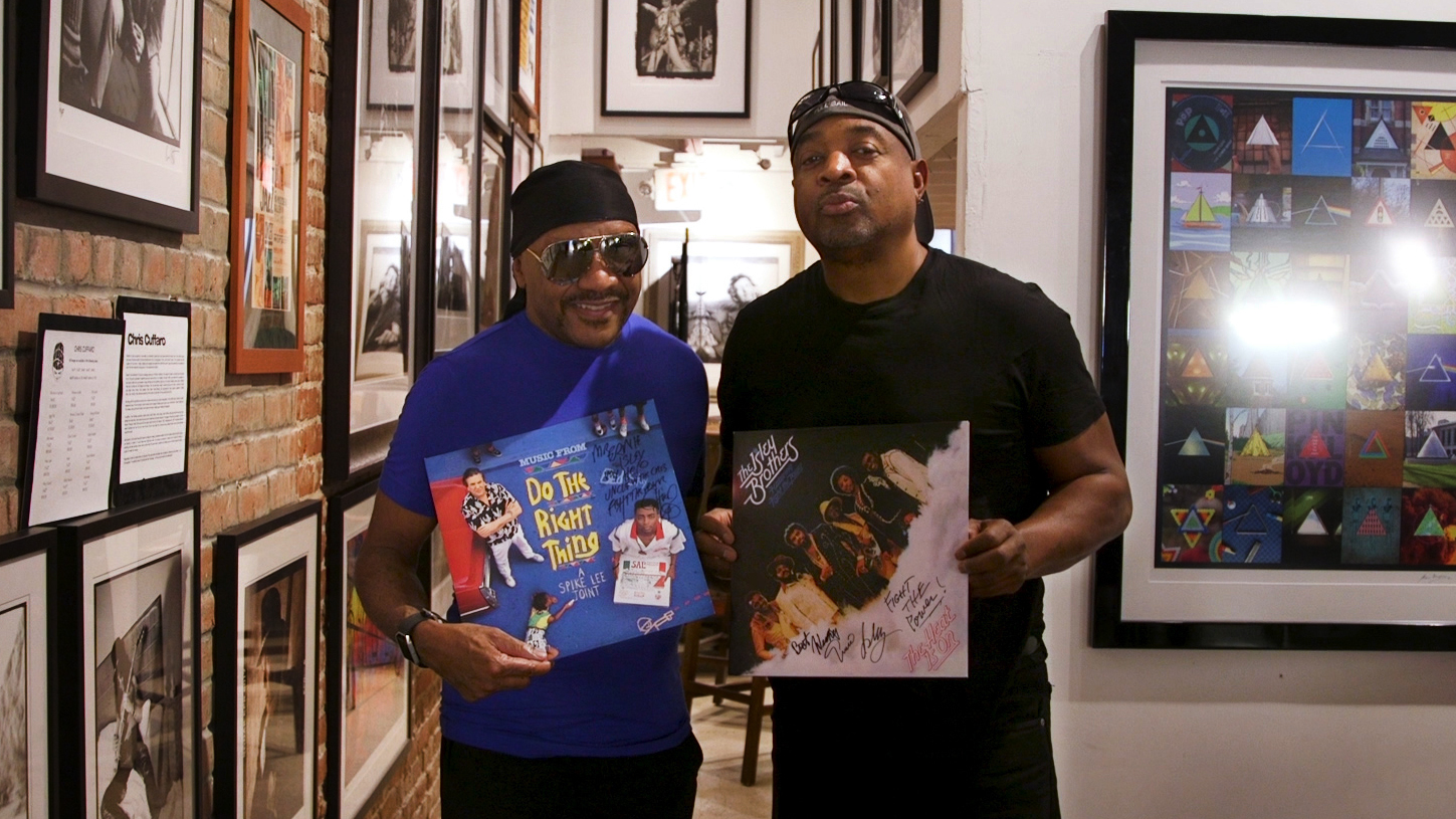 """Ernie Isley (left) of The Isley Brothers and Chuck D of Public Enemy met at Mr Musichead Gallery in Los Angeles to discuss their respective versions of """"Fight the Power."""""""