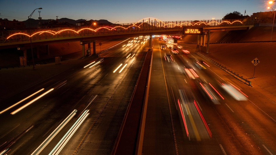 Rush hour on Interstate 10 in El Paso, Texas. A federal report suggests America's interstates are worn, overused and highly congested. It also recommends billions of dollars in fixes. (Paul Ratje/AFP/Getty Images)