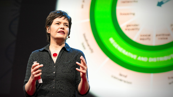 Kate Raworth on the TED stage.