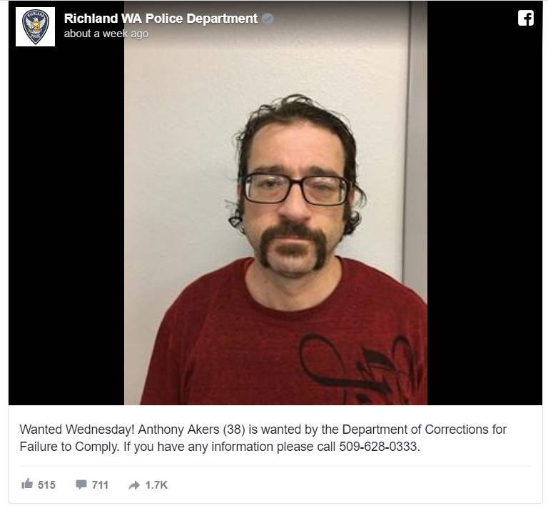 "Anthony Akers, 38, turned himself in after responding online to a ""Wanted Wednesday"" callout by Richland Police Department in Washington state, seeking his arrest."