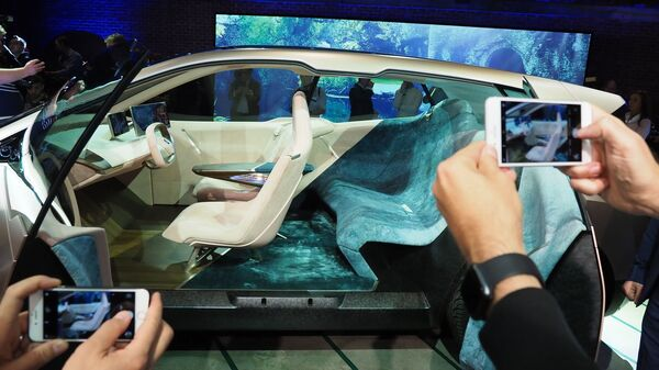 The BMW Vision iNEXT autonomous electric car is previewed at a special event ahead of the LA Auto Show on Nov. 27.
