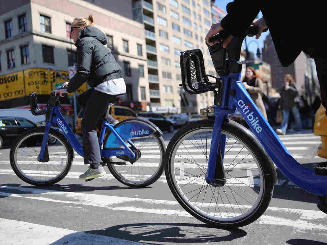 Citi Bike users pedal through the streets of Manhattan. Some members of Generation Z, the younger generation following the millennials, are less inclined to own cars and lean more toward bike-sharing and ride-sharing services.
