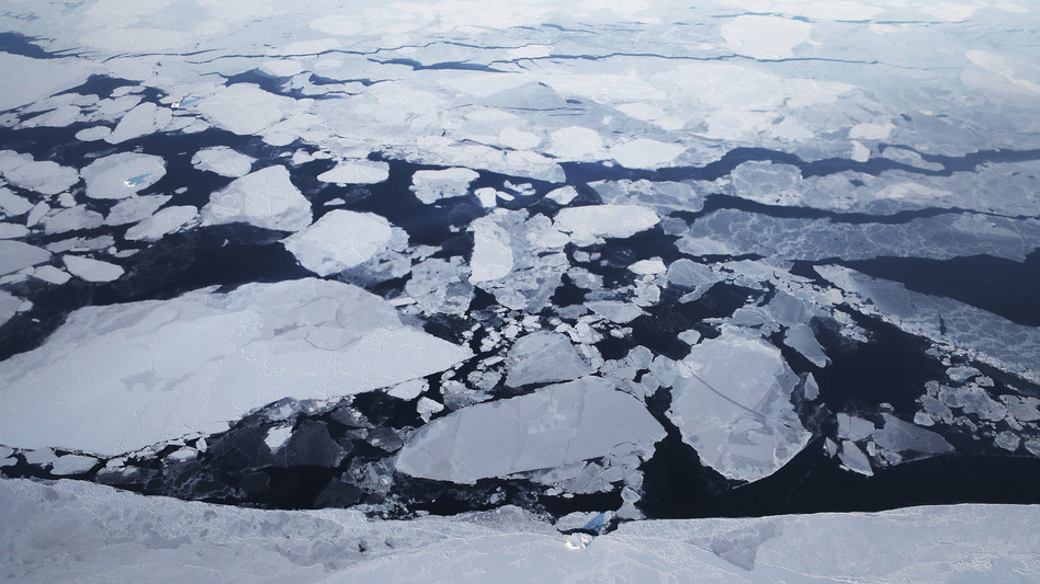 Sea ice is seen from NASA's Operation IceBridge research aircraft off the northwest coast of Greenland in March 2017. A new report says rapid warming over the past three decades has led to a 95 percent decline of the Arctic's oldest and thickest ice. (Mario Tama/Getty Images)