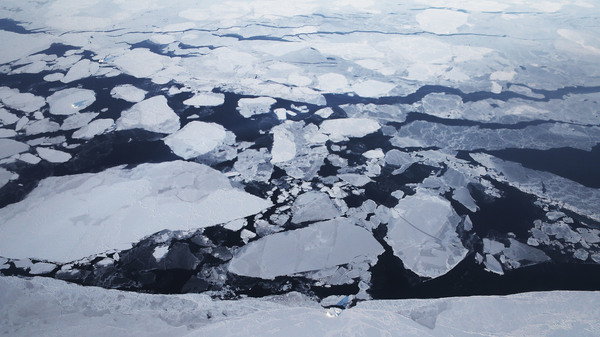 Sea ice is seen from NASA
