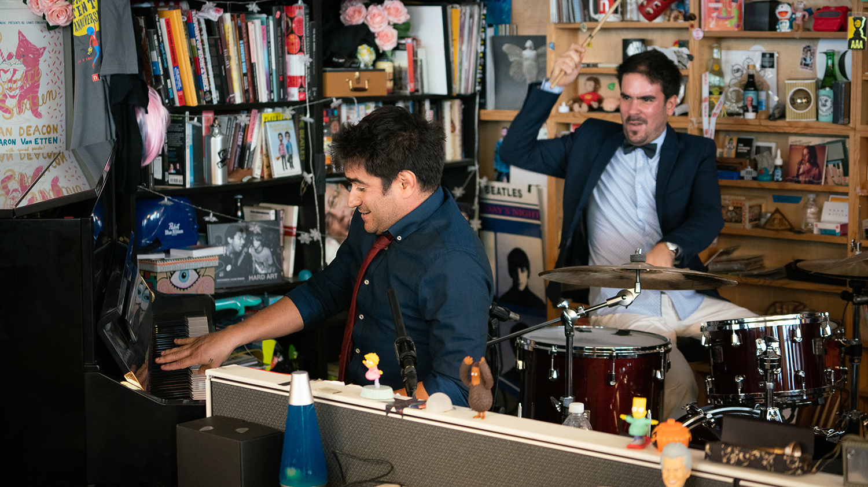Harold Lopez-Nussa Trio performs a Tiny Desk Concert on Nov. 15, 2018 (Cameron Pollack/NPR).