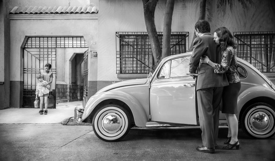 The movie <em>Roma</em> revolves around Cleo (Yalitza Aparicio), the live-in housekeeper and nanny<em> </em>for Señor Antonio (Fernando Grediaga) and Señora Sofia (Marina de Tavira) and their children (including Pepe, played by Marco Graf). (Carlos Somonte/Netflix)