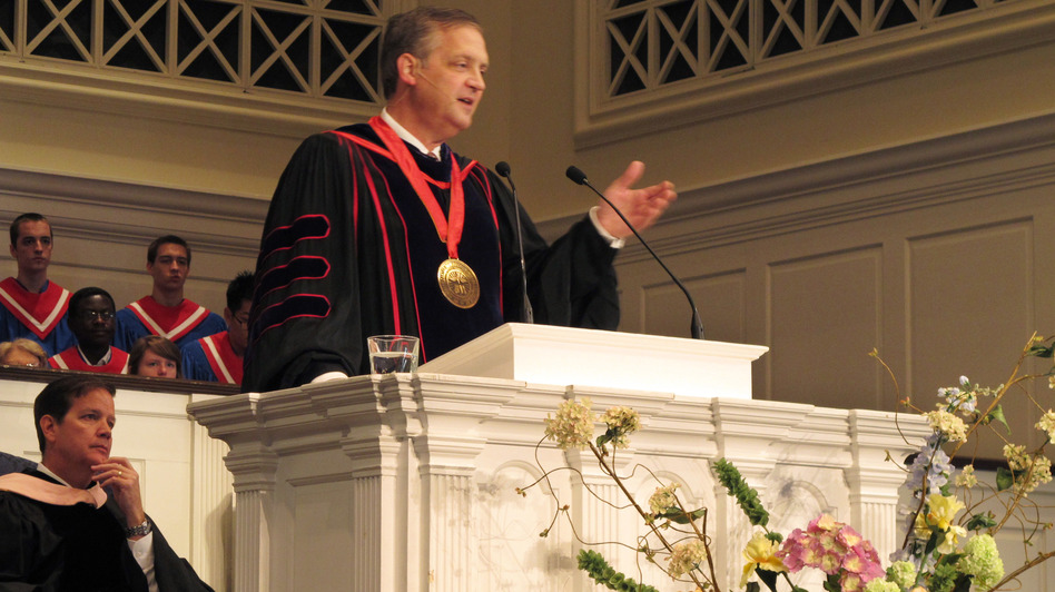 Southern Baptist Theological Seminary President R. Albert Mohler, Jr. speaks at the school's convocation ceremony in 2013. Mohler, who has led the seminary for 25 years, commissioned a report on the role racism and support for slavery played in its origin and growth. (Bruce Schreiner/AP)