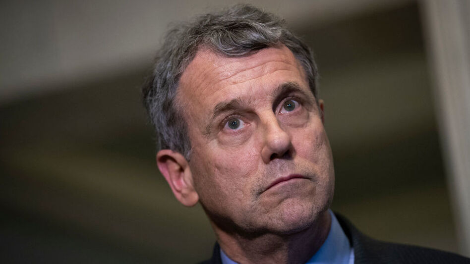 Sen. Sherrod Brown, D-Ohio, looks on during a press conference on Capitol Hill in December 2018. (Drew Angerer/Getty Images)
