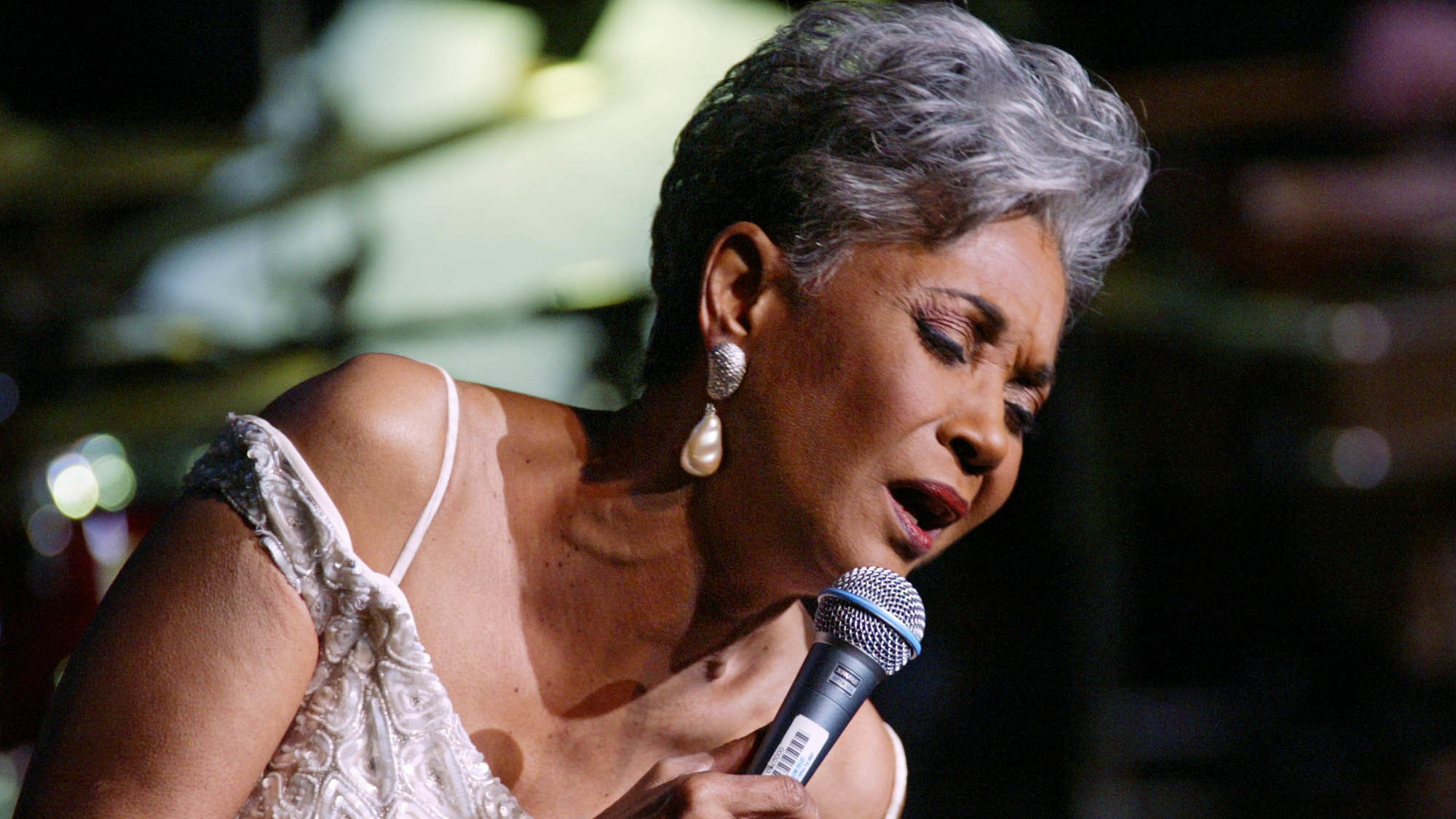 """Grammy-winning singer Nancy Wilson performs in 2003 at Lincoln Center's Avery Fisher Hall in New York during a concert titled """"Nancy Wilson With Strings: Celebrating Four Decades of Music."""""""