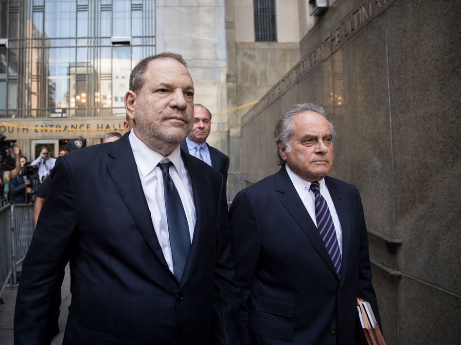 Harvey Weinstein and attorney Benjamin Brafman exit State Supreme Court on June 5 in New York City. Weinstein pleaded not guilty on two counts of rape and one count of a criminal sexual act. (Drew Angerer/Getty Images)