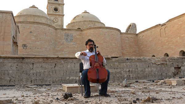 """""""The continuous impromptus of performing after car bombs, I believe that it is an empowering element of solidarity...,"""" Karim Wasfi says."""
