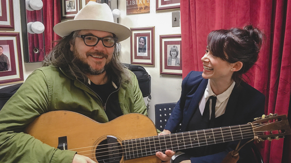 Jeff Tweedy (left) with World Cafe Host Talia Schlanger (right) at the Free Library of Philadelphia.