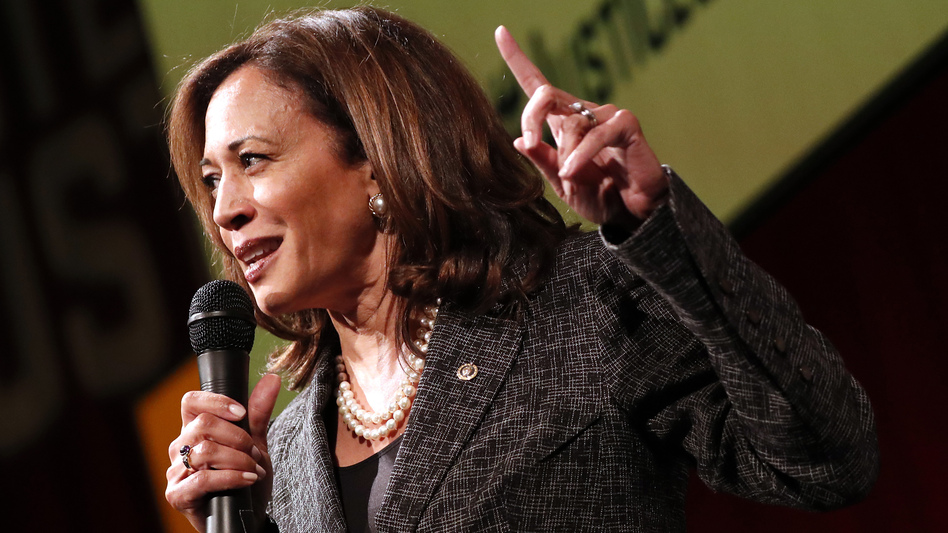 Sen. Kamala Harris, D-Calif., speaks at Vote For Justice: An Evening of Empowerment with activists and artists at the Newseum in Washington, D.C., in May 2018. (Paul Morigi/AP)
